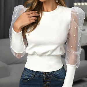 NWOT White mesh long sleeves round neck top